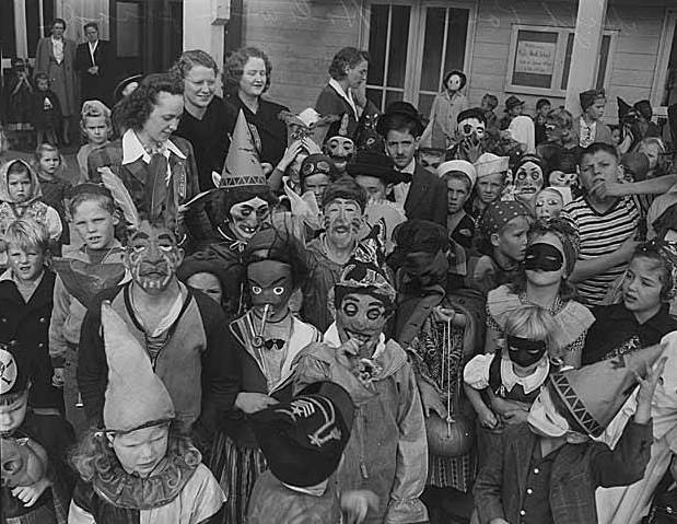 Children celebrating Halloween in Seattle, 1943