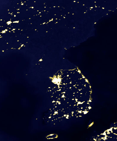 A nighttime picture of the Korean peninsula taken in 2000 from space.
