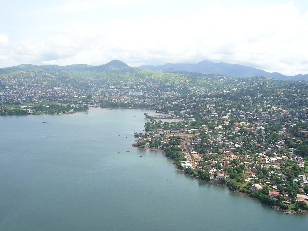 An aerial view of Freetown