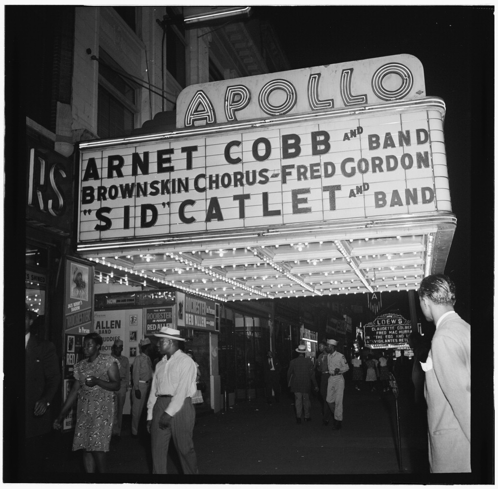 The Apollo Theater where famous African American musicians like Stevie Wonder and Aretha Franklin once performed.